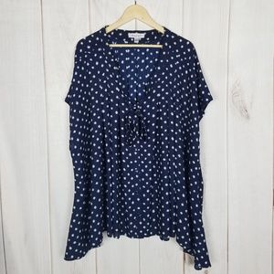 Roaman's Blue Print Button Up Tie Sash Blouse